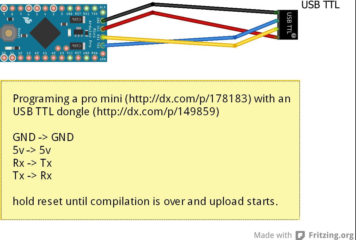 Arduino programming an pro mini with usb ttl