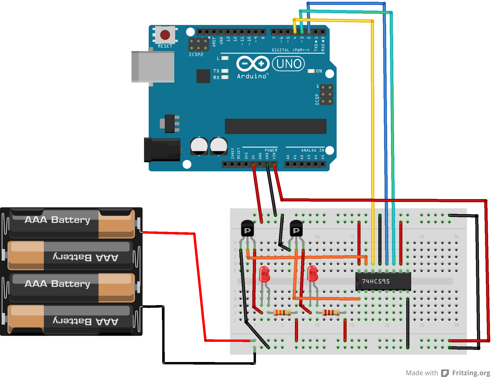 Arduino Use A Shift Register 74hc595 Erwan S Blog