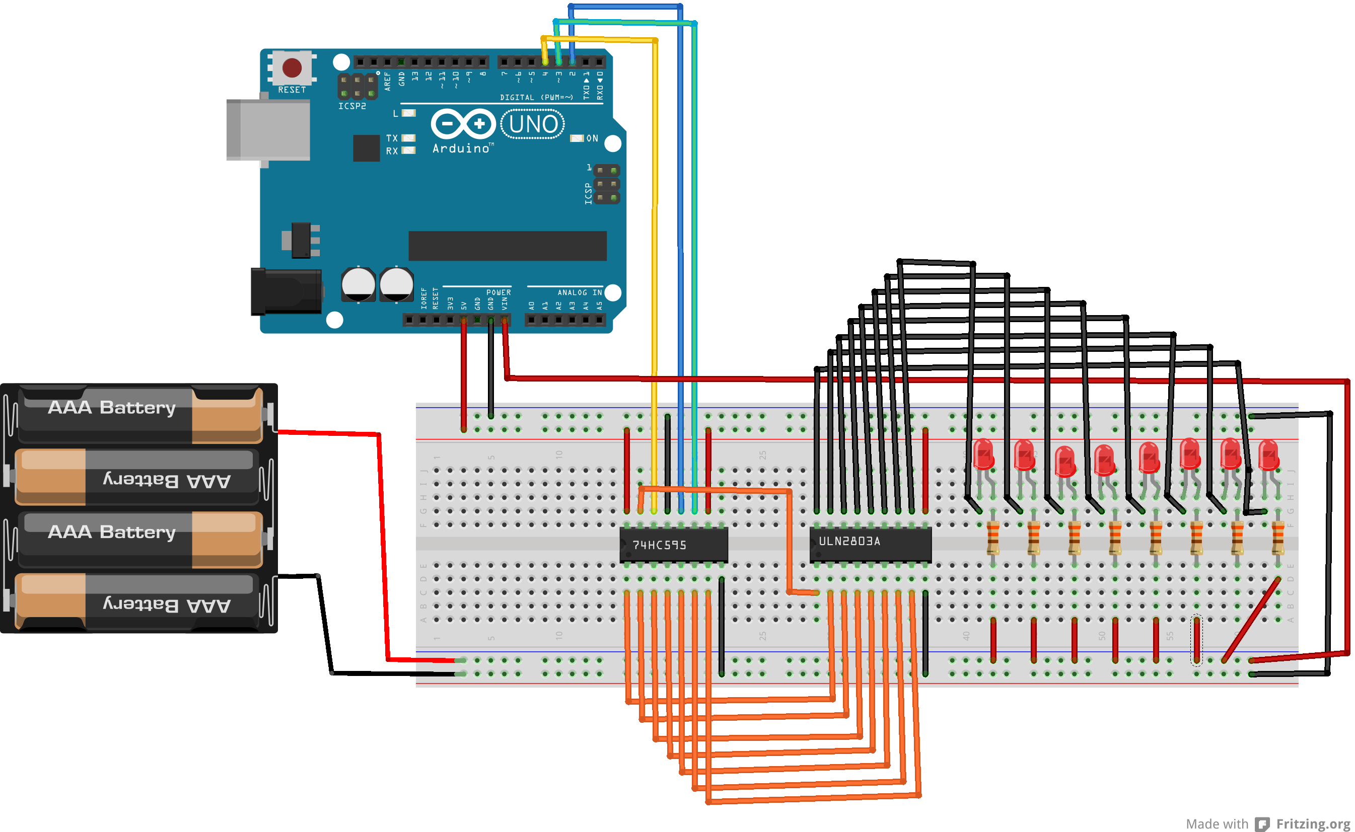 Arduino Use A Shift Register 74hc595 And Transistor Array Darlington Pair Circuit Uln2803a Bb